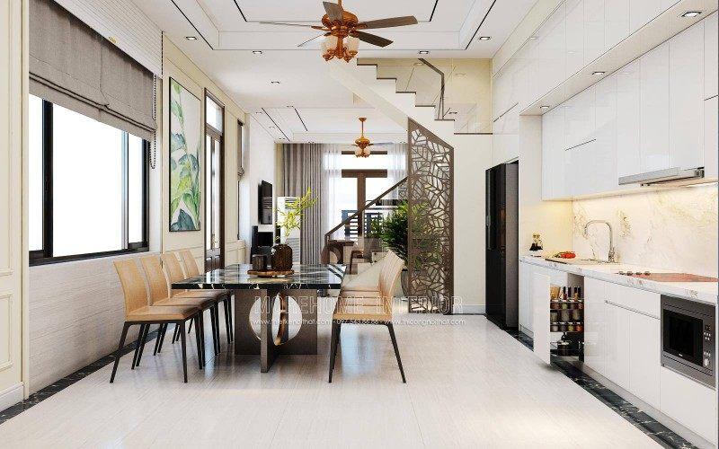 Thiết kế nội thất phòng ăn nhà lô sở dầu hồng bàng hải phòng