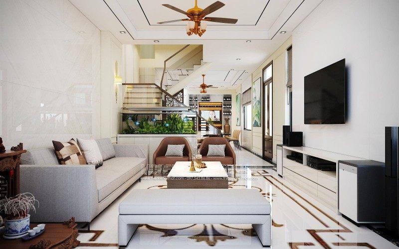 Thiết kế nội thất phòng khách nhà lô Sở dầu hồn bàng hải phòng