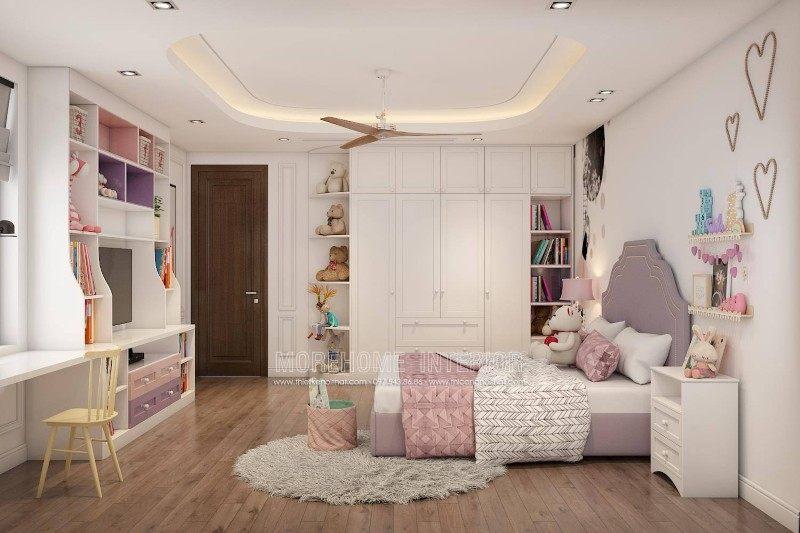 Thiết kế nội thất phòng bé gái cho nhà lô tại quận hồng bàng hải phòng