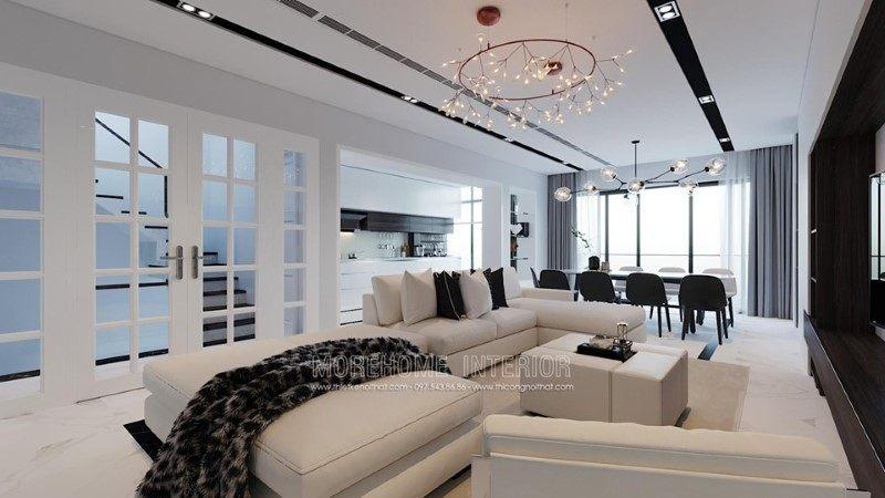 Thiết kế nội thất phòng khách nhà phố trần bình