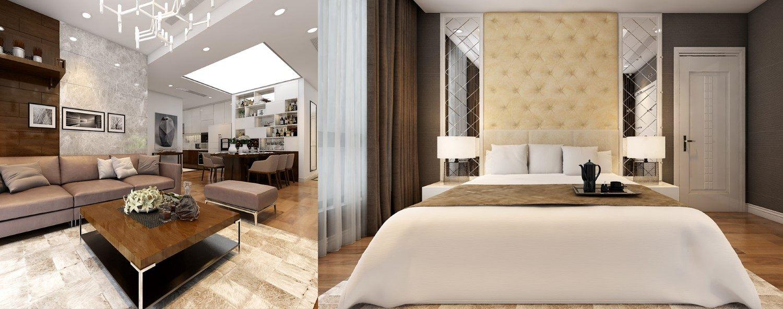 Thiết kế nội thất phòng ngủ con căn hộ Times City Park Hill