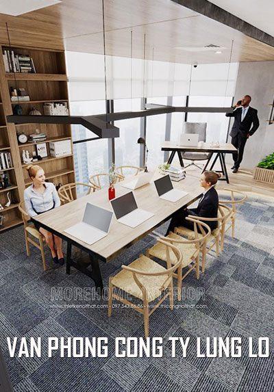 Mẫu thiết kế nội thất văn phòng hiện đại đẹp công ty Lũng Lô Tại Sky Light