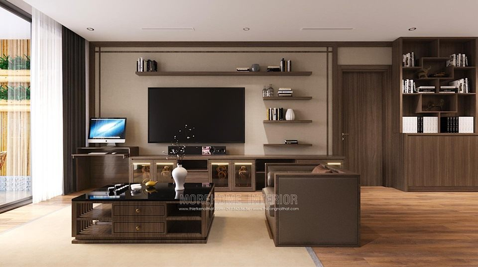 Thiết kế nội thất phòng khách chung cư vinhomes skylake phạm hùng phong cách nhật