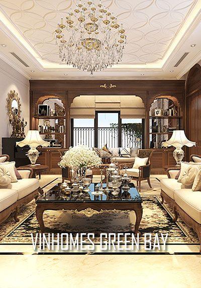 Thiết kế nội thất biệt thự Vinhomes Green Bay gỗ óc chó cao cấp