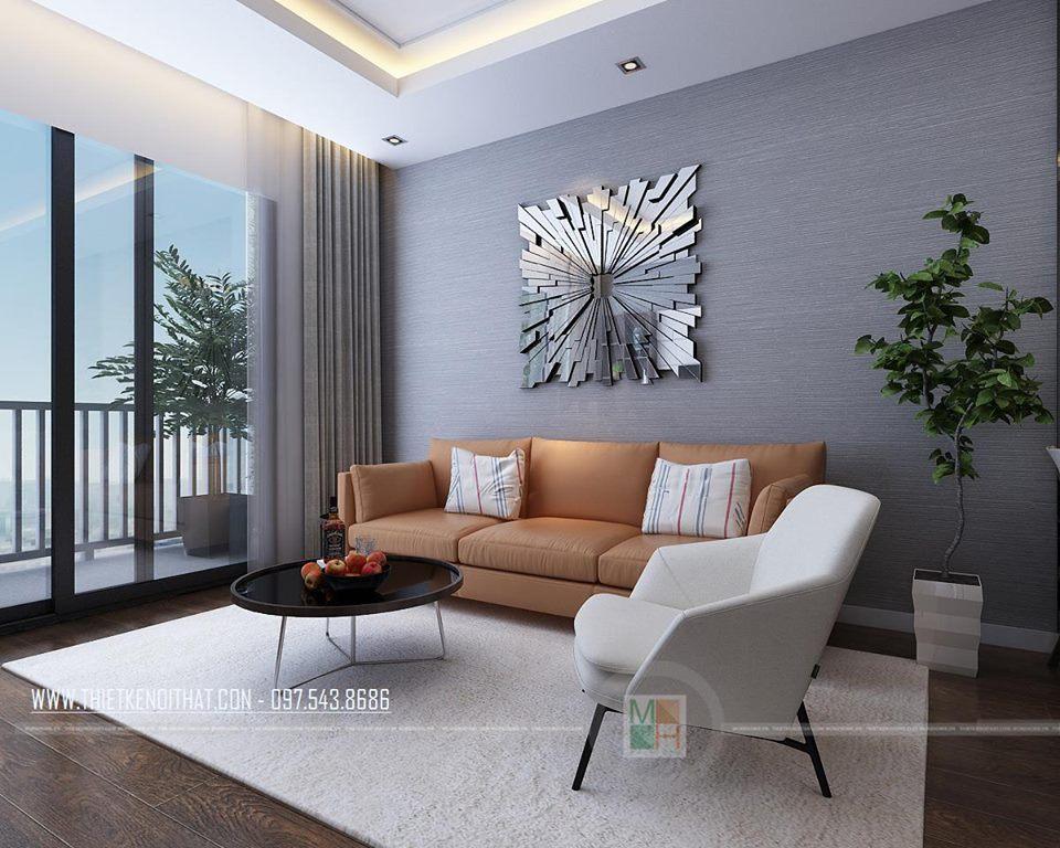 Nội thất phòng khách hiện đại căn hộ mẫu Imperia Sky Garden 74m2