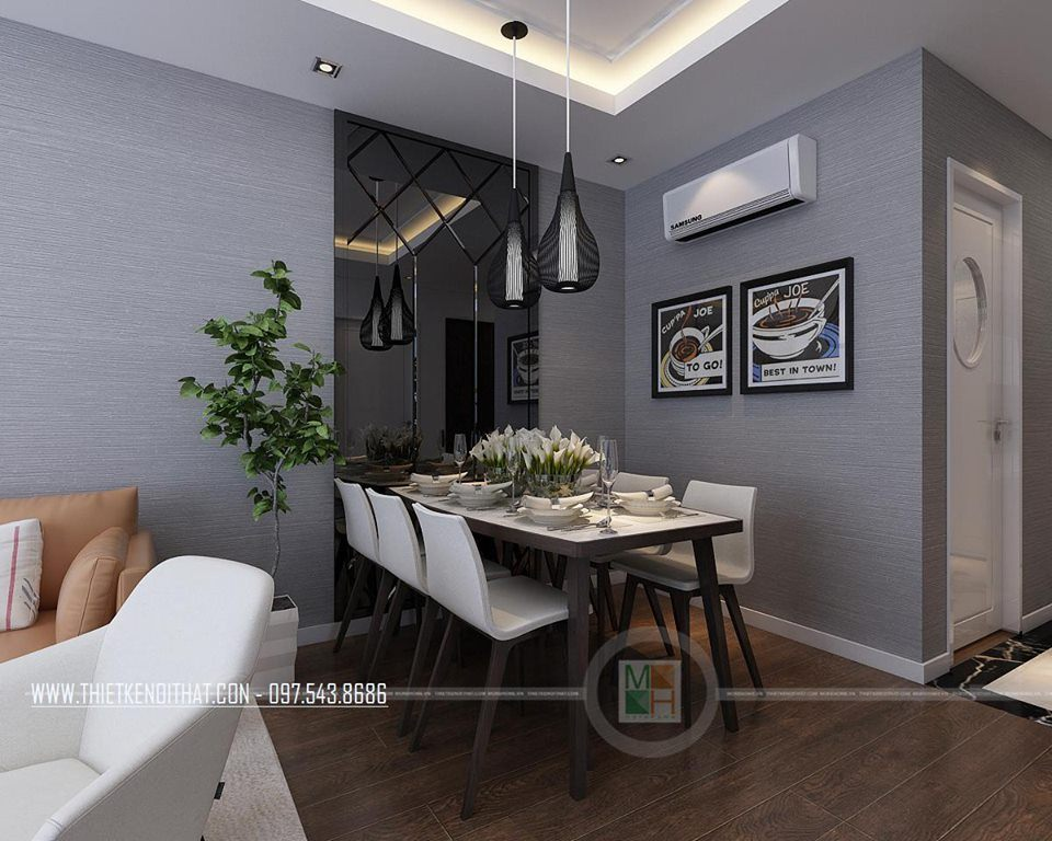 Nội thất phòng khách phòng ăn hiện đại căn hộ mẫu Imperia Sky Garden 74m2