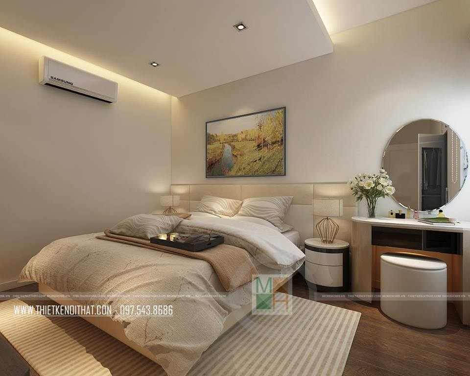 Nội thất phòng ngủ căn hộ mẫu Imperia Sky Garden 74m2