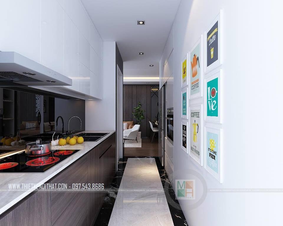 Nội thất phòng bếp hiện đại căn hộ mẫu Imperia Sky Garden 74m2