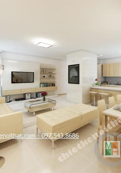 Thiết kế nội thất chung cư Golden Palace - căn hộ B6 hiện đại, đẹp