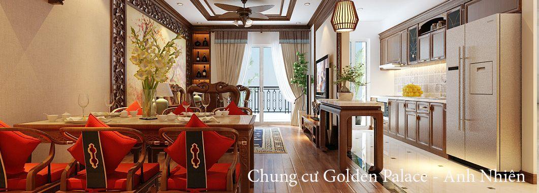 Thiết kế nội thất phòng khách chung cư Gỗ Việt Golden Palace Mễ Trì Nam Từ Liêm Hà Nội
