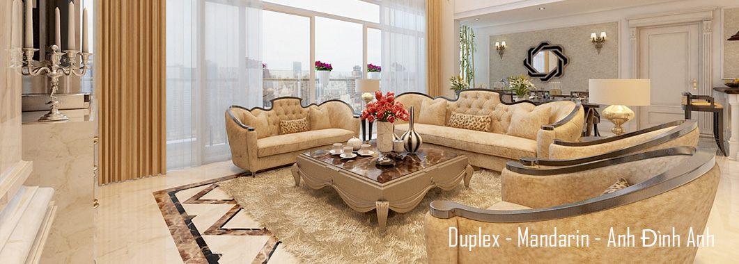Thiết kế nội thất phòng khách căn hộ Duplex Mandarin Garden Hoàng Minh Giám Cầu Giấy Hà Nội