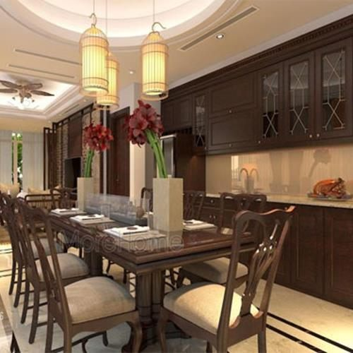 Tủ bếp gỗ óc chó cao cấp tại biệt thự VinHomes Thăng Long