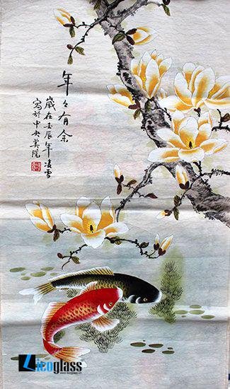 Tranh kính cá chép hoa đại - mẫu 17