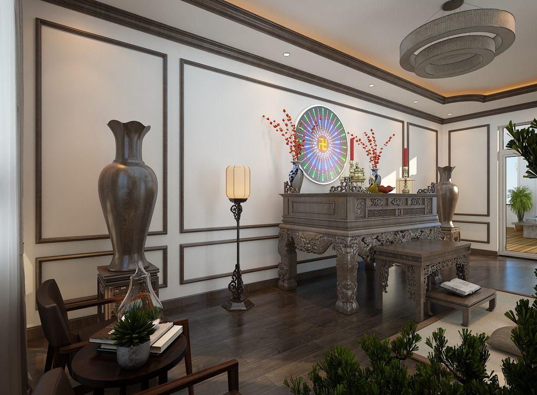 Mẫu bàn thờ đứng tại biệt thự Nha Trang